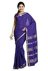Kaushika Sarees Pure Crepe Traditional Mysore Silk Royalblue Saree