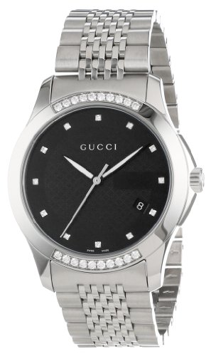 Gucci Men's YA126408 G-Timeless Medium Diamond Black Dial Steel Watch