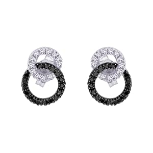 Click to buy Black Diamond Earring Stud: ¼ Carat Black and White Diamond Interlock Earrings from Amazon!