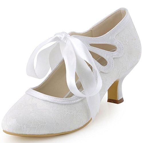ElegantPark-HC1521-Womens-Mary-Jane-Closed-Toe-Low-Heel-Pumps-Lace-Wedding-Dress-Shoes