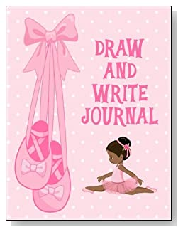 Draw and Write Journal For Girls - A cute little black ballerina against a mostly pink background graces the cover of this draw and write journal for younger girls.