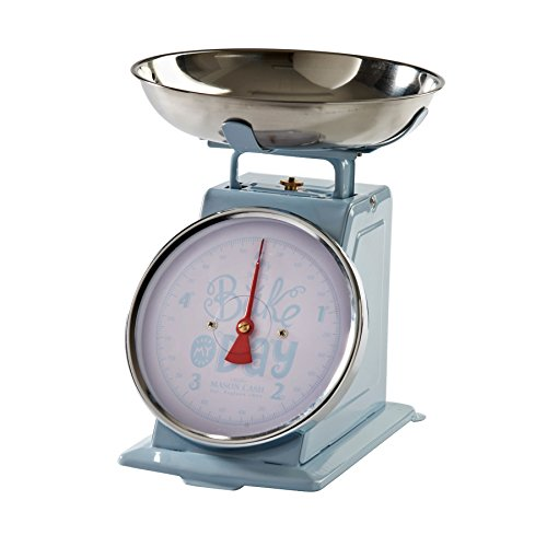 BLUE STAINLESS STEEL BOWL KITCHEN SCALES BAKE MY DAY 1905S THEMED 0