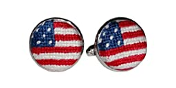 Smathers & Branson Old Glory Silver Plated Needlepoint Cufflinks (CL-10)