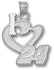 LogoArt Jeff Gordon Sterling Silver I Heart Pendant - Jeff Gordon One Size by Logo Art