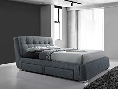Fabric light grey 4 drawer storage bed - 5FT Kingsize - Buttoned headboard