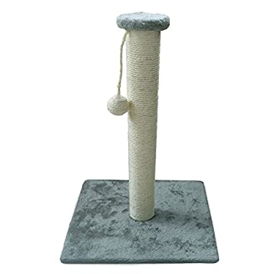 Andrew James Plush Sisal Rope Cat Scratching Post 55cm Tall With Ball Toy - 2 Year Warranty - Available in Cream or Grey