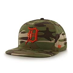 Detroit Tigers Camouflage Air Drop Leather Strap Adjustable Strapback Hat Cap by