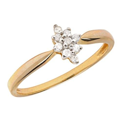 10k Gold Diamond Starburst Cluster Promise Ring
