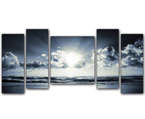 130x60 cm 5 teilig blau grau krasiva 50x20 50x20 40x40 50x20 50x20cm riesen format. Black Bedroom Furniture Sets. Home Design Ideas