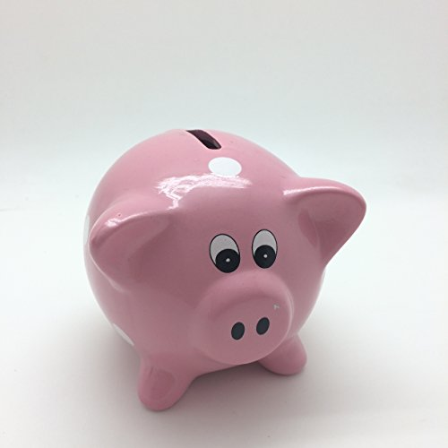 "Pink 4""H Polka Dots Ceramic Piggy Bank Money Saving Toy - 1"