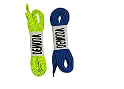 Demoda Flat Shoe Laces(Pack of 4 pair-2 Neon green,2 Blue)