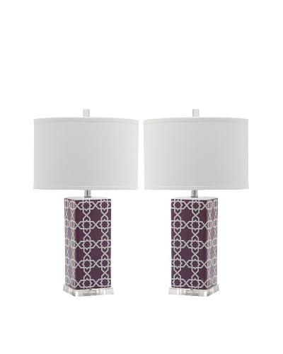Safavieh Set of 2 Quatrefoil Table Lamps, Light Purple