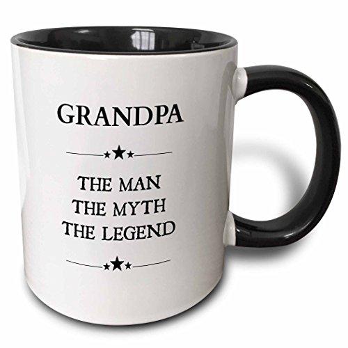 3dRose Grandpa the man the myth the legend - Two Tone Black Mug, 11oz (mug_221824_4), 11 oz, Black/White (Grandpa Coffee Mug compare prices)