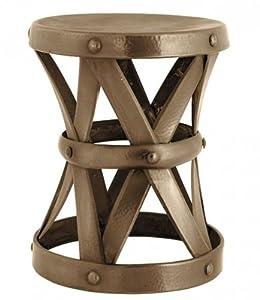 Casa Padrino Designer Luxus Beistelltisch Messingfarben Höhe 53cm, Durchmesser 44cm - Edelstahl Hocker - Nickel Finish Tisch Sitzhocker
