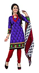 Purple Color Crepe Churidar Salwar Suit Unstitched Dress Materials