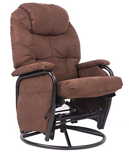 Brown Luxury Suede Fabric Nursery Glider Rocking Chair 360