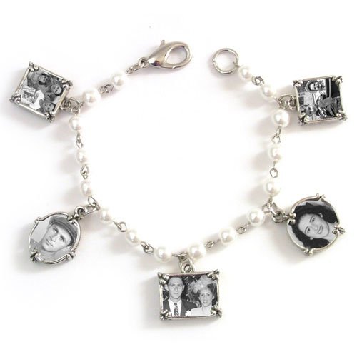 Memory Maker Pearl Beaded Photo Frame 5 Charm Bracelet