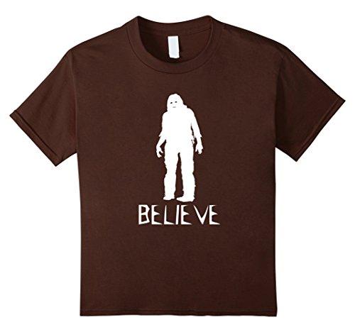 Kids Believe Bigfoot Sasquatch - Scary Halloween Costume T Shirt 10 Brown (Bigfoot Costumes For Kids)