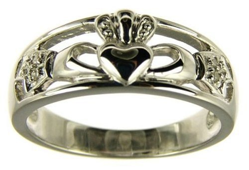 9ct White Gold Ladies' Diamond Set Celtic Claddagh Ring Size T