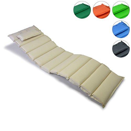 Hochwertige-Liegen-Auflage-Sitz-Polster-mit-Kopfkissen-fr-Sonnenliegen-Sauna-Garten-Terrasse-Camping-feste-Qualitt-dick-bequem-wasserabweisend-abwaschbar-aufrollbar-creme