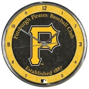Pittsburgh Pirates Round Chrome Wall Clock by Hall of Fame Memorabilia