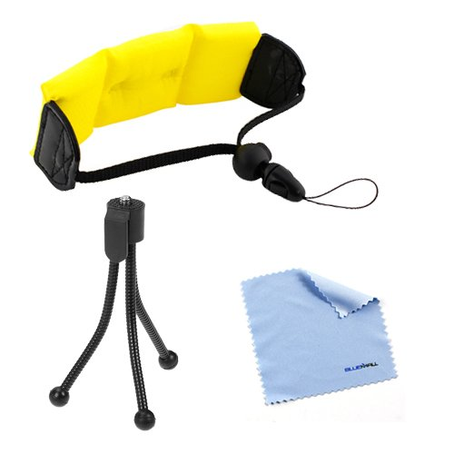 Birugear Bright Yellow Foam Floating Wrist Strap + Mini Tripod + Cleaning Cloth For Kodak C123, Playsport Zx3 Zx5 Hd Waterproof Pocket Video Cameras; Panasonic Lumix Dmc-Ts20, Ts25, Ts5; Fujifilm Xp200, Xp60 And More Underwater Camera Or Camcorder
