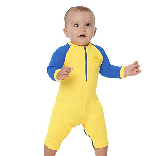 NoZone Sun Protective Baby Suit ~ $38 This highly rated, heavy-use romper fits extremely well, has a front zipper closure, a fully-opening diaper zipper, and is highly chlorine and salt resistant. Hardcore beach goers swear by this one and the long sleeves mean less sunscreen is required.
