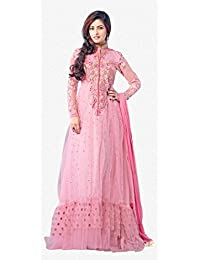 Pakiza Design New Soft Net Pink Floor Touch Gown Style Anarkali Suit_SemiStitched