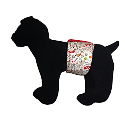 Barkerwear Male Dog Diaper - Ruff Ruff Washable Belly Band Male Wrap for Housebreaking, Male Marking and Incontinence
