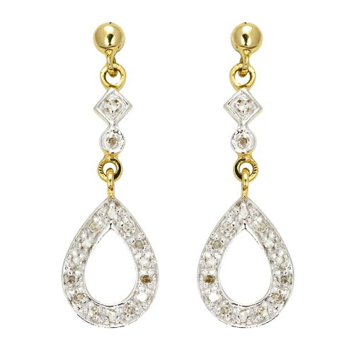 Ladies' Diamond Drop Earrings, 9ct Yellow Gold, I2 Diamond Clarity, 0.12 Carat Diamond Weight, Model 9-ER4372D