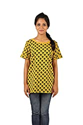 INDRICKA Yellow colour 100% Organic Cotton Top for womens.