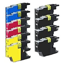 New Set of 10 LC75 High Yield Compatible Ink Cartridge Combo (4xBk, 2xC, 2xM & 2xY) For MFC-J280W, MFC-J425W, MFC-J430W,MFC-J435W, MFC-J5910DW, MFC-J625DW, MFC-J6510DW, MFC-J6710DW, MFC-J6910DW, MFC-J825DW, MFC-J835DW