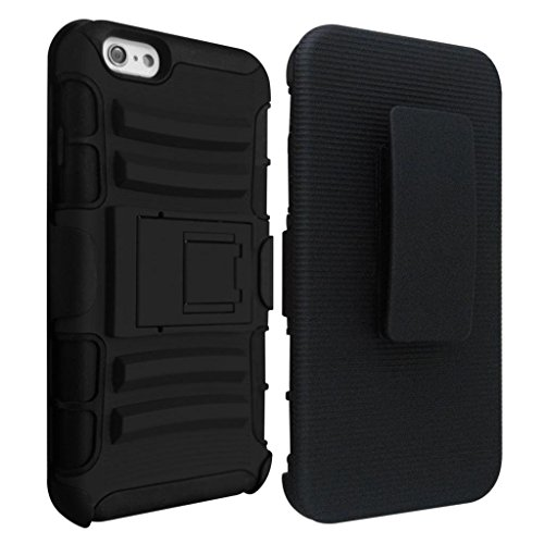iPhone 6s Plus Case, HLCT Holster Combo Heavy Duty iPhone 6 Plus Case with Kickstand and Swivel Belt Clip Dual Layer Case for Apple iPhone 6 Plus / iPhone 6s Plus 5.5 inch (Black)