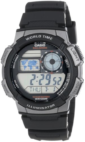 Casio Mens AE1000W-1BVCF Silver-Tone and Black Digital Sport Watch