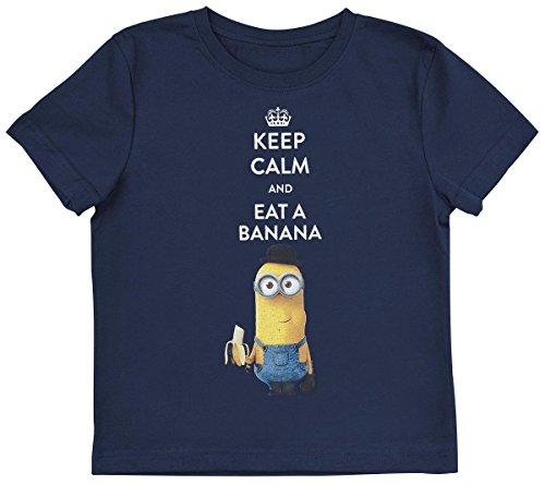 Minions Keep Calm And Eat A Banana Maglia bimbo/a blu navy 116