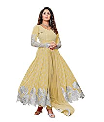 Sourabh Enterprises Women's Georgette Unstitched Dress Material (NE036_Yellow_Free Size)