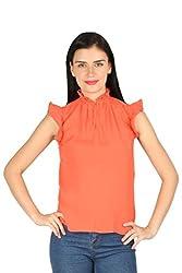 Aaliya Woman's Viscose moss crepeTops- Orange-XL
