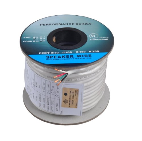 C&E 100 Feet 16Awg Cl2 Rated 4-Conductor Loud Speaker Cable (For In-Wall Installation)