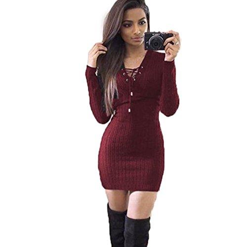 """Sexy Vestito, Reasoncool Le donne inverno manica lunga in maglia Vestito aderente maglione (L-Busto:37"""", Vino rosso)"""