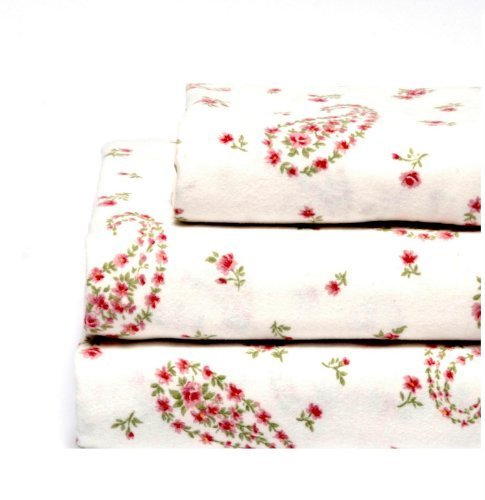 Laura Ashley Flannel Queen Sheet Set, Bristol Paisley front-977379