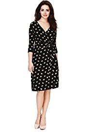 Petite Crossover V-Neck Sailboat Print Wrap Dress
