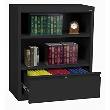 Sandusky Lee BD10361842-09 System Series Bookcase with File Drawer, Black