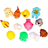 VistaraTrade High Quality Non-Toxic Soft Chu Chu Animal Bath Toys Set Of 12 Multi-color