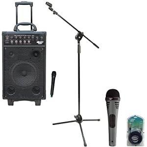 Pyle Speaker, Mic, Cable and Stand Package - PWMA1050 800 Watt VHF Wireless Battery Powered Pa System W/Echo/Ipod/MP3 Input Jack - PDMIK2 Professional Moving Coil Dynamic Handheld Microphone - PMKS3 Tripod Microphone Stand W/ Extending Boom - PPFMXLR15 15ft. XLR Male to XLR Female Microphone Cable
