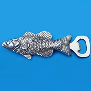 Fish Bottle Opener Silver Walleye Perch Beer Cap Remover Fishing Camp Barware