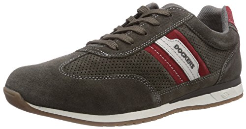 Dockers by Gerli 36SH004, Low-Top Sneaker uomo, Grigio (Grau (dunkelgrau/rot 227)), 43