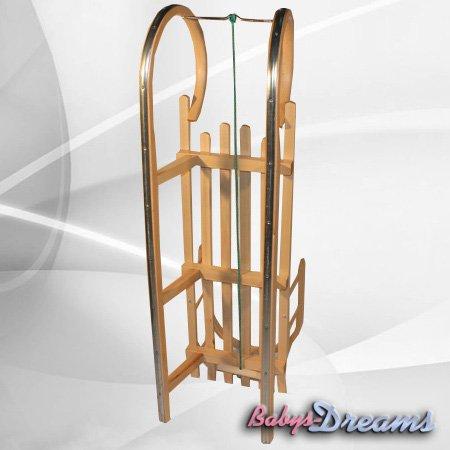 Babys-Dreams-Traineauluge-en-bois-de-120-cm-avec-dossier-et-corde-de-traction
