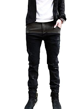 UZZO Mens Jeans Skinny Straight Fit Pencil Pants Trousers Fashion (Asian Size: 28(US 27))