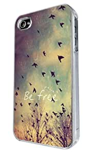 iphone 4 4S Cool Be Free Birds Sky and Clouds Cute Natural Look Cool Design Fashion Trend Hülle Case Back Cover Metall und Kunststoff