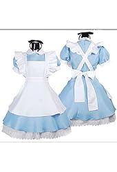 Ninimour- Women's Alice Wonderland French Apron Maid Cosplay Costume (blue)
